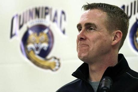 Quinnipiac hockey coach Rand Pecknold has lots to smile about these days.